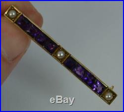 Art Deco 14ct Gold Amethyst and Seed Pearl Bar Brooch p1885