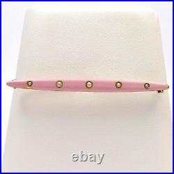 Art Deco 14k Rose Gold Krementz Pink Enamel Bar Brooch Pin
