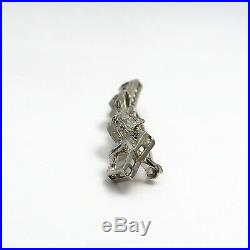 Art Deco 14k White Gold Diamond Sapphire Bow Bar Brooch Pin