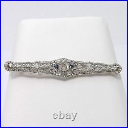 Art Deco 18K White Gold Filigree Diamond Sapphire Bar Brooch Pin 4 grams