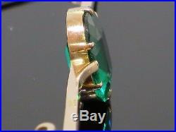 Art Deco 1930s 5CT Emerald 9K Rose Gold Bar Brooch Pin, 4.1g