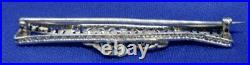 Art Deco Antique 14K White Gold Natural Diamond Filigree Bow Bar Pin Brooch