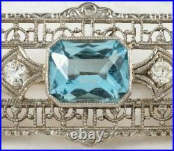 Art Deco Aqua & Diamond 14K White Gold Bar Pin Brooch Estate