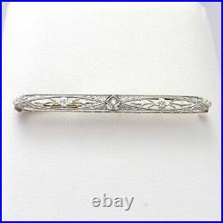 Art Deco Krementz 14K Yellow Gold & Platinum Top Diamond Bar Brooch Pin 3.0gr