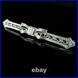 Art Deco Old European Cut Diamond Enamel 10k Gold Bar Brooch Pin Bow c. 1920s