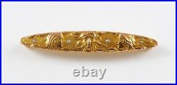 Art Nouveau 14k Gold Krementz Diamond 3 Lady Profile Bar Pin Brooch
