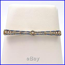 Art Nouveau 14k Gold Krementz Guilloche' Enamel Seed Pearl Bar Brooch Pin 5.6gr