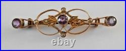 Art Nouveau 9 ct Gold Amethyst & Seed Pearl Bar Brooch