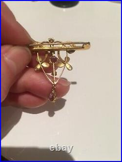 Art nouveau Victorian 9ct gold amethyst & seed pearl Bar Brooch