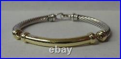 Authentic David Yurman Sterling Silver & 14k Gold Bar Metro Bracelet 6 5mm