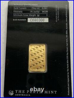 Avc- Australia Perth Mint 5 Gram Gold Bar. 999 Fine Sealed In Assay