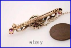 BEAUTIFUL ANTIQUE ENGLISH 15K GOLD & SILVER RUBY DIAMOND BAR BROOCH c1890