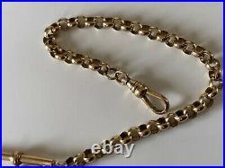 Beautiful 9ct Gold Albert Pocket Watch Chain T Bar Dog Clip & Fob Seal Bracelet
