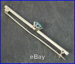 Beautiful Edwardian Oceanic Blue Zircon & 9ct White Gold Bar Brooch