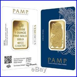 Box of 25 1 oz Gold Bar PAMP Suisse Lady Fortuna Veriscan. 9999 Fine In