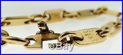 CARTIER Paris 18K Yellow Gold Flat Oval Bar Link Bracelet 8.5 LongVintage