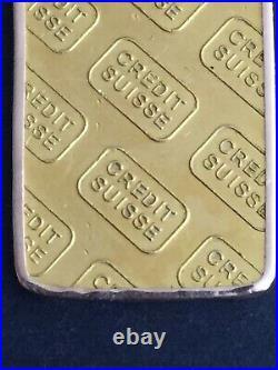 Credit Suisse 10g Fine Gold Bar 9999 in 14ct Gold Pendant Frame Preloved