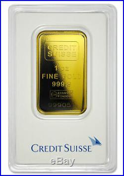 Credit Suisse 1 Troy oz. 9999 Fine Gold Bar Sealed Type 2 Plastic Case