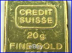 Credit Suisse 20 Gram 999.9 Fine Gold Bar SN 167593