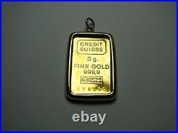 Credit Suisse 5G 999.9 Fine Gold Bar & Bezel Pendant New Brilliant Uncirculated