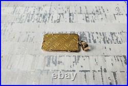 Credit Suisse 5 Gram 24K. 9999 Fine Gold Bar Charm Pendant w 14K Bezel Serial #