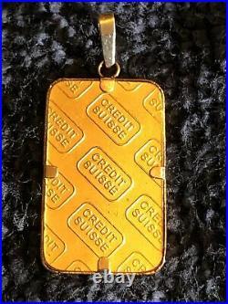 Credit Suisse 5 Gram 24K. 9999 Fine Gold Bar with 14K Bezel SN979708