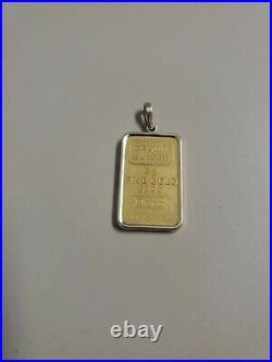 Credit Suisse 5 Gram Fine Gold 999.9 Bar with 14k bezel No Reserve