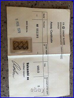 Credit Suisse 5 Gram Gold Bar 999.9 Fine Gold SN 552285
