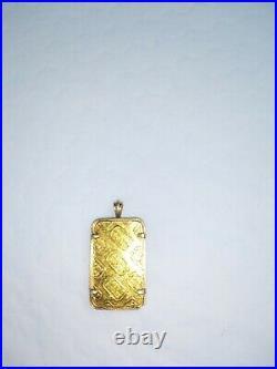 Credit Suisse 5 Grams Fine Gold Bar in 14K Yellow Bezel Pendant