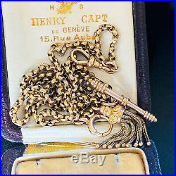 Edwardian 10ct, 10k, 417 Gold Albertina chain, T-bar, Dog clip & Tassell fitting