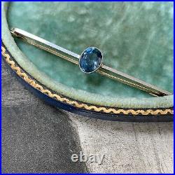 Edwardian Art Nouveau 15ct Gold Platinum Blue Stone Bar Brooch