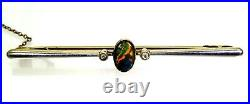 Edwardian Black Opal Diamond Platinum 15ct Yellow Gold Stock Pin Tie Bar Brooch