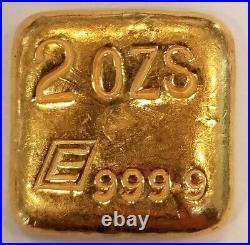 Engelhard Poured Square 2 Troy Ounces bar 99.99% Fine Gold