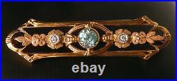 Exquisite 10k Gold Vintage Art Deco Blue Zircon+Diamond Floral Bar Brooch Pin