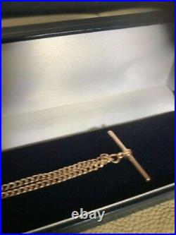 Exquisite 9ct Gold Victorian Hm GEW Ld Birmingham UK Double Albert Chain T Bar