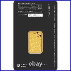 FIVE (5) 10 gram Gold Bar Perth Mint 99.99 Fine in Assay