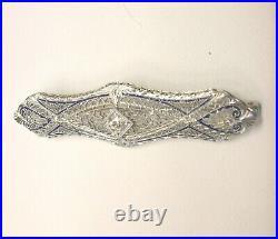 Fabulous @1910 14k White Gold Enamel Filigree Diamond (european Cut) Bar Pin/see