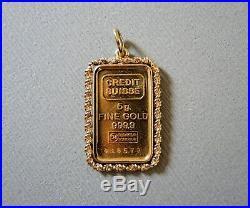 Fabulous 5 Gram 999.9 Fine Gold 24K Credit Suisse Bar in 14K Rope Pendant 7.1 g