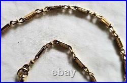 Fine 14K Gold Antique Victorian Pocket Watch Chain Fancy Bar Crimp Link 11 grams