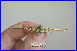 Fine Antique Edwardian 9 Carat Gold Peridot & Seed Pearl Bar Brooch Pin 3.6 G