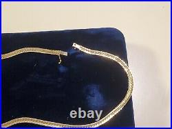 Fine Vintage 14k Italian Yellow Gold Herringbone Chain 16 Long Necklace 17grams