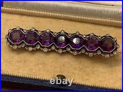 Heavy Antique Solid 18ct Gold Silver Amethyst Diamond Bar Brooch In Box