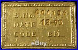 INDIA GOLD 100 GRAMS 3.125ozs 995.0 FINE INGOT /BAR #1156