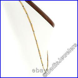 Italian Vintage Solid 14k Rosy Yellow Gold 15.5 10mm Bar Link Chain Necklace