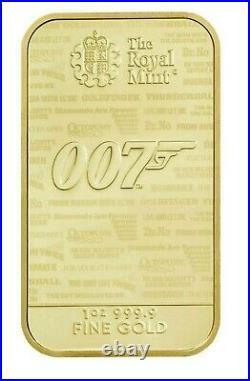 JAMES BOND 1oz FINE GOLD BULLION BAR 999.9 NO TIME TO DIE ROYAL MINT GOLDFINGER