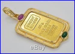 #JC119 20g CREDIT SUISSE FINE GOLD 999.9 BAR 18K DIAMOND BEZEL PENDANT