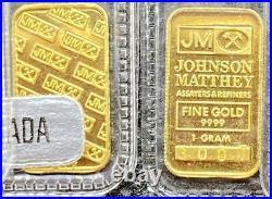 JOHNSON MATTHEY GOLD 1 GRAM BAR 24KT. 9999 Fine In Assay RARE! (Tall Series)
