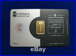 KARATBARS Gold Bullion 2.5 gram. 999 Fine Gold bar 24K CERITIFIED & VERIFIED
