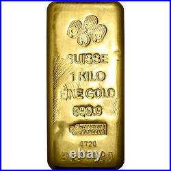 Kilo 32.15 oz Gold Bar PAMP Suisse Poured 999.9 Fine with Assay