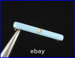 Krementz Solid 14k Gold With Seed Pearl And Robin Egg Blue Enamel Bar Pin Brooch